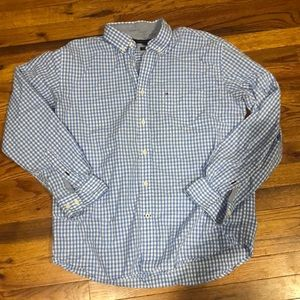 Tommy Hilfiger blue & white checkered long sleeve button down. Size Large.